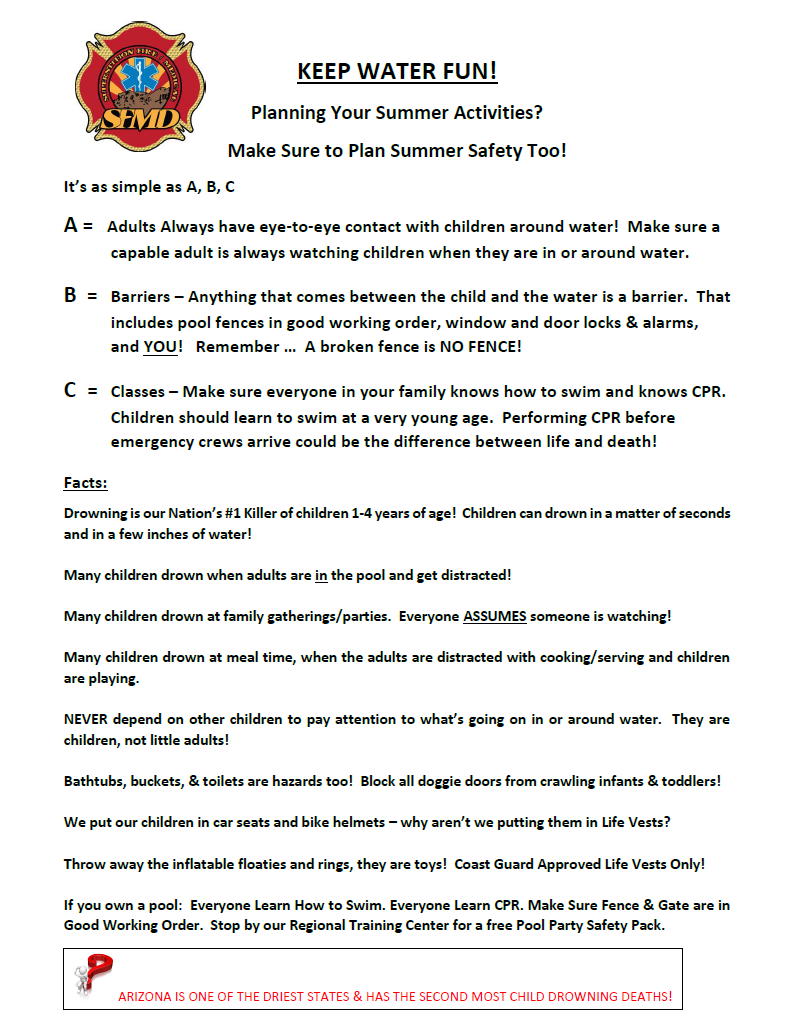 Water Safety   Superstition Fire & Medical District