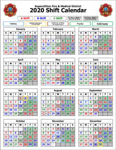 Firefighter Shift Calendar 2020 Shift Calendars | Superstition Fire & Medical District