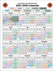 Shift Calendars Superstition Fire Medical District